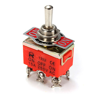 Car Toggle DPDT ON-OFF Switch Auto Parts 6-Pin 15A 250V